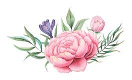 Το σχέδιο πρόσκλησης Watercolor με την ανθοδέσμη του χεριού λουλουδιών χρωμάτισε τις floral συνθέσεις που απομονώθηκαν στο άσπρο  Στοκ φωτογραφία με δικαίωμα ελεύθερης χρήσης
