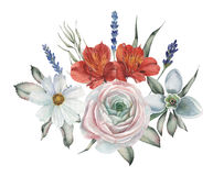 Το σχέδιο πρόσκλησης Watercolor με την ανθοδέσμη του χεριού λουλουδιών χρωμάτισε τις floral συνθέσεις που απομονώθηκαν στο άσπρο  Στοκ εικόνες με δικαίωμα ελεύθερης χρήσης