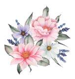 Το σχέδιο πρόσκλησης Watercolor με την ανθοδέσμη του χεριού λουλουδιών χρωμάτισε τις floral συνθέσεις που απομονώθηκαν στο άσπρο  διανυσματική απεικόνιση