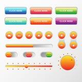 Το σχέδιο στοιχείων μουσικής Ιστού UI UX έθεσε: Κουμπιά, Switchers, ολισθαίνων ρυθμιστής, φορτωτής Στοκ Εικόνες