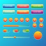 Το σχέδιο στοιχείων μουσικής Ιστού UI UX έθεσε: Κουμπιά, Switchers, ολισθαίνων ρυθμιστής, φορτωτής Στοκ Φωτογραφίες