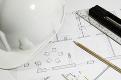 Το σχέδιο της οικοδόμησης ενός σπιτιού Στοκ φωτογραφία με δικαίωμα ελεύθερης χρήσης