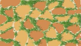 Το σχέδιο της τεκτονικής με την πράσινη χλόη Στοκ Εικόνα