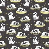 Το σχέδιο του ύπνου στο άσπρο σκυλί μαξιλαριών ελεύθερη απεικόνιση δικαιώματος