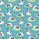 Το σχέδιο του ύπνου στο άσπρο σκυλί μαξιλαριών διανυσματική απεικόνιση