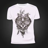 Το σχέδιο τυπωμένων υλών μπλουζών με το hand-drawn mehendi αντέχει το κεφάλι Εθνικά αφρικανικά, ινδικά, σχέδιο tatoo τοτέμ Στοκ Φωτογραφίες