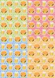 Το σχέδιο των τροφίμων με τα burgers και τις στάμνες της μπύρας Στοκ Εικόνες