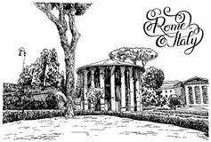 Το σχέδιο χεριών σκίτσων της διάσημης εικονικής παράστασης πόλης της Ρώμης Ιταλία με το χέρι άφησε απεικόνιση αποθεμάτων