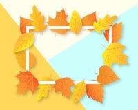 Το σχεδιάγραμμα υποβάθρου φθινοπώρου διακοσμεί με τα φύλλα για τις αγορές Στοκ φωτογραφίες με δικαίωμα ελεύθερης χρήσης