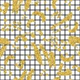 Το σύγχρονο άνευ ραφής σχέδιο με το χρυσό ακτινοβολεί λωρίδα, λεκές και καρό βουρτσών Χρυσό, μαύρο χρώμα στο άσπρο υπόβαθρο Χέρι Στοκ φωτογραφία με δικαίωμα ελεύθερης χρήσης