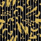 Το σύγχρονο άνευ ραφής σχέδιο με το χρυσό ακτινοβολεί λωρίδα, λεκές και σημείο βουρτσών Χρυσό, άσπρο χρώμα στο μαύρο υπόβαθρο Χέρ Στοκ Εικόνα