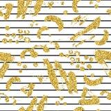 Το σύγχρονο άνευ ραφής σχέδιο με το χρυσό ακτινοβολεί λωρίδα, λεκές και σημείο βουρτσών Χρυσό, μαύρο χρώμα στο άσπρο υπόβαθρο Χέρ Στοκ Εικόνες