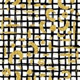 Το σύγχρονο άνευ ραφής σχέδιο με το χρυσό ακτινοβολεί λωρίδα, λεκές και καρό βουρτσών Χρυσό, μαύρο χρώμα στο άσπρο υπόβαθρο Χέρι Στοκ Εικόνα