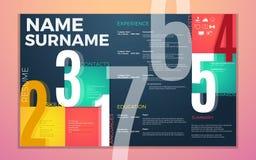 Το σύγχρονο βιογραφικό σημείωμα επαναλαμβάνει το πρότυπο Φωτεινά χρώματα αντίθεσης infographic με το πρόγραμμα σπουδών - ζωή info Στοκ φωτογραφία με δικαίωμα ελεύθερης χρήσης