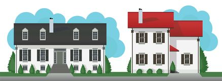 Το σύγχρονο εξοχικό σπίτι στεγάζει το διανυσματικό σύνολο απεικόνιση αποθεμάτων
