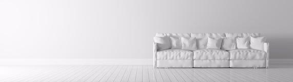 Το σύγχρονο εσωτερικό με το άσπρο πανόραμα καναπέδων τρισδιάστατο δίνει Στοκ φωτογραφία με δικαίωμα ελεύθερης χρήσης