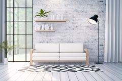Το σύγχρονο εσωτερικό σχέδιο σοφιτών, ο άσπρος καναπές και ο μαύρος λαμπτήρας στο τουβλότοιχο, τρισδιάστατο δίνουν ελεύθερη απεικόνιση δικαιώματος