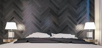 Το σύγχρονο εσωτερικό σχέδιο της κρεβατοκάμαρας, κλείνει αυξημένος του κρεβατιού και του σκοτεινού δρύινου κατασκευασμένου τοίχου στοκ εικόνες