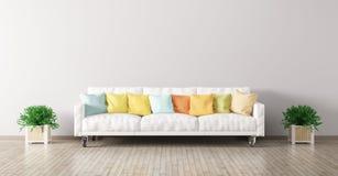 Το σύγχρονο εσωτερικό του καθιστικού με τον άσπρο καναπέ τρισδιάστατο δίνει Στοκ φωτογραφία με δικαίωμα ελεύθερης χρήσης