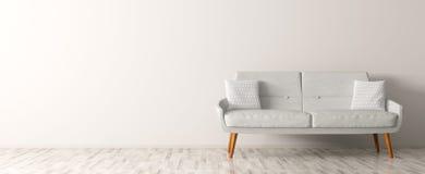 Το σύγχρονο εσωτερικό του καθιστικού με τον άσπρο καναπέ τρισδιάστατο δίνει απεικόνιση αποθεμάτων
