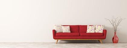 Το σύγχρονο εσωτερικό του καθιστικού με τον κόκκινο καναπέ τρισδιάστατο δίνει Στοκ Φωτογραφία