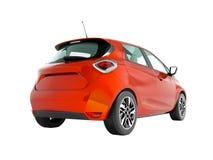 Το σύγχρονο ηλεκτρικό αυτοκίνητο hatchback για τα ταξίδια για τη νέα οικογενειακή κόκκινη πορτοκαλιά προοπτική από το κατώτατο ση ελεύθερη απεικόνιση δικαιώματος