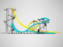 Το σύγχρονο κίτρινο και μπλε νερό δύο γλιστρά για ένα aquapark στο s διανυσματική απεικόνιση