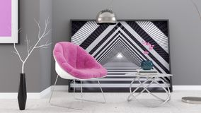 Το σύγχρονο καθιστικό, εσωτερικό σχέδιο τρισδιάστατο δίνει Στοκ φωτογραφία με δικαίωμα ελεύθερης χρήσης