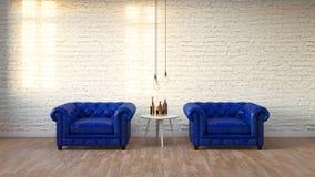 Το σύγχρονο καθιστικό σοφιτών με τον άσπρο τουβλότοιχο, τρισδιάστατο δίνει Στοκ εικόνα με δικαίωμα ελεύθερης χρήσης