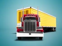 Το σύγχρονο κόκκινο βαγόνι εμπορευμάτων με το κίτρινο ρυμουλκό για τη μεγάλης απόστασης μεταφορά τρισδιάστατη δίνει στο μπλε υπόβ απεικόνιση αποθεμάτων