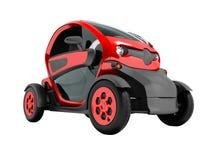 Το σύγχρονο κόκκινο ηλεκτρικό αυτοκίνητο για τα ταξίδια πόλεων σε δύο καθίσματα στο σαλόνι τρισδιάστατο δεν δίνει στο άσπρο υπόβα απεικόνιση αποθεμάτων