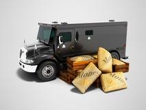 Το σύγχρονο μαύρο θωρακισμένο φορτηγό για τη μεταφορά των χρημάτων στις τσάντες τρισδιάστατες δίνει απεικόνιση αποθεμάτων