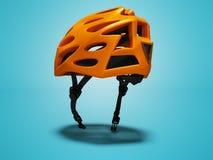 Το σύγχρονο πορτοκαλί κράνος ποδηλάτων για τα ταξίδια μέσω του πάρκου απομόνωσε τρισδιάστατο δίνει στο μπλε υπόβαθρο με τη σκιά διανυσματική απεικόνιση