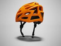 Το σύγχρονο πορτοκαλί κράνος ποδηλάτων για τα ταξίδια μέσω του πάρκου απομόνωσε τρισδιάστατο δίνει στο γκρίζο υπόβαθρο με τη σκιά διανυσματική απεικόνιση