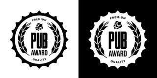 Το σύγχρονο ποτό μπύρας τεχνών απομόνωσε το διανυσματικό σημάδι λογότυπων για το ζυθοποιείο, το μπαρ, brewhouse ή το φραγμό απεικόνιση αποθεμάτων