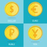 Το σύγχρονο σύνολο χρυσών νομισμάτων στο ζωηρόχρωμο υπόβαθρο, ευρώ, Στοκ εικόνα με δικαίωμα ελεύθερης χρήσης