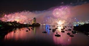 Το Σύδνεϋ γιορτάζει τη νέα παραμονή ετών Στοκ Εικόνες