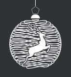 Το σύμβολο της σφαίρας Χριστουγέννων και των ελαφιών Χριστουγέννων ελεύθερη απεικόνιση δικαιώματος