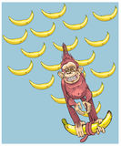 Το σύμβολο του έτους - ένας πίθηκος με τις μπανάνες, πιέζει χρονικά σε σας Στοκ φωτογραφία με δικαίωμα ελεύθερης χρήσης