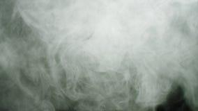 Το σύννεφο καπνού διαδίδει στο μαύρο υπόβαθρο r Πυκνά παχιά άσπρα σύννεφα καπνού που ρέουν στα ρεύματα και φιλμ μικρού μήκους