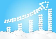 Το σύννεφο τακτοποιεί στη μορφή βελών, έννοια αύξησης, επιχειρησιακό υπόβαθρο ελεύθερη απεικόνιση δικαιώματος