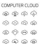 Το σύννεφο υπολογιστών αφορούσε το διανυσματικό σύνολο εικονιδίων Στοκ Εικόνες