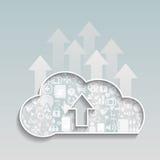 Το σύννεφο υπολογίζω-φορτώνει το κοινωνικό δίκτυο σύννεφων Στοκ φωτογραφία με δικαίωμα ελεύθερης χρήσης