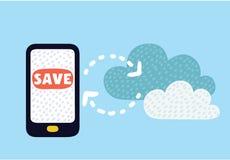 Το σύννεφο φορτώνει από το κινητό τηλέφωνο στα στοιχεία καταστημάτων όσον αφορά τον κεντρικό υπολογιστή Στοκ φωτογραφίες με δικαίωμα ελεύθερης χρήσης