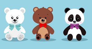 Το σύνολο απομονωμένου χαριτωμένου κομψού teddy παιχνιδιού διακοπών αντέχει με το δεσμό τόξων στη συνεδρίαση θέτει: καφετής αντέξ ελεύθερη απεικόνιση δικαιώματος