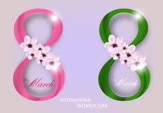Το σύνολο απομόνωσε τα ψηφία οκτώ με τα λουλούδια για την ημέρα των διεθνών γυναικών στις 8 Μαρτίου διακοπών στο ελαφρύ υπόβαθρο  απεικόνιση αποθεμάτων