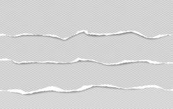 Το σύνολο γκρι τακτοποίησε τις οριζόντιες σχισμένες λουρίδες εγγράφου, το σχισμένο έγγραφο σημειώσεων για το κείμενο ή το μήνυμα διανυσματική απεικόνιση