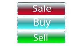 Το σύνολο γυαλιού τρία που τα διαφανή όμορφα διανυσματικά κουμπιά για τη συμπίεση της πώλησης, αγοράζουν, πωλεί τα κόκκινα, μπλε, ελεύθερη απεικόνιση δικαιώματος