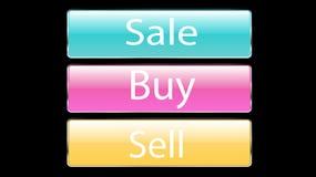 Το σύνολο γυαλιού τρία που τα διαφανή όμορφα διανυσματικά κουμπιά για τη συμπίεση της πώλησης, αγοράζουν, πωλεί τα μπλε, ρόδινα,  ελεύθερη απεικόνιση δικαιώματος