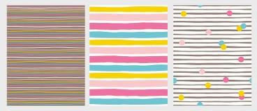 Το σύνολο 3 δίνει τα συρμένα ανώμαλα ριγωτά διανυσματικά σχέδια Ζωηρόχρωμα λωρίδες και σημεία απεικόνιση αποθεμάτων